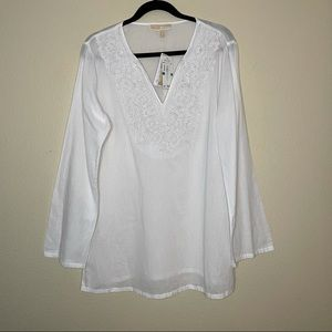 Michael Kors White Embroidered Tunic Blouse